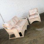 Cerused Reeded Rattan Love Seat & Lounge Chair Manner of Gabriella Crespi
