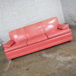 Vintage Hollywood Regency Art Deco Sofa with Original Pink Distressed Leather