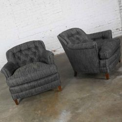 Vintage Pair Henredon Lounge Club Chairs with Button Backs in Fabricut Escapade Carbon Charcoal Gray