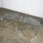 Hollywood Regency Chrome & Glass Square End Tables Brass Details a Pair Style of Maison Jansen