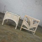 Cerused Reeded Rattan Large & Small End Table Glass Tops a Pair Manner of Gabriella Crespi