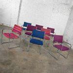 Modern Vecta Chrome Armchairs 4 Purple 2 Blue 2 Multicolored Stripe Set of 8