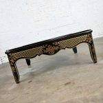 Drexel Heritage ET Cetera Collection Chinoiserie Black & Gold Painted & Burl Coffee Table Glass Insert