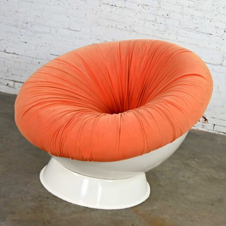 Space Age Mod Style Orange & White Fiberglass Ball Chair Style of Girasole Chair by Luciano Frigerio