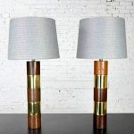 Wood & Brass Plate Banded Pair of Lamps in the Style of Milo Baughman for Thayer Coggin