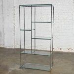 Mid-Century Modern Chrome & Glass Etagere Mondrian Style Shelf Placement