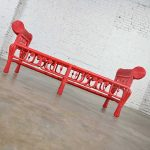 Hollywood Regency Boho Chic Poppy Red Painted Gondola Style Wicker Bench or Table