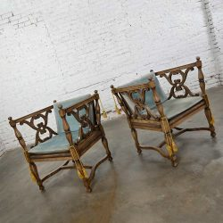 Mediterranean Spanish Revival Pair of Cerused Chairs with Rush Seats & Loose Ice Blue Velvet Cushions