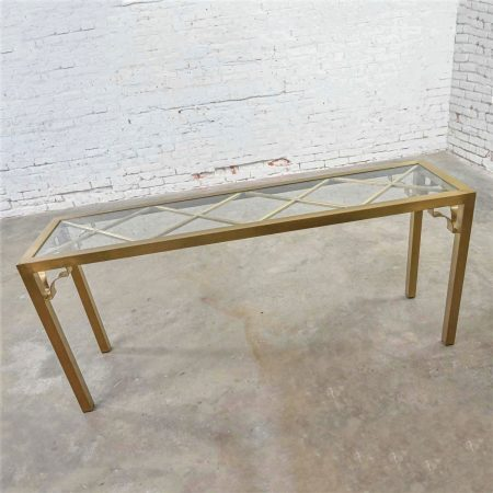 Modern Hollywood Regency Brushed Brass Plated Parsons Style Rectangle Console Table X Design Glass Top Insert