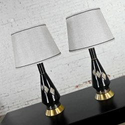 Mid-Century Modern Black Ceramic Lamps with Harlequin Style Diamond Design
