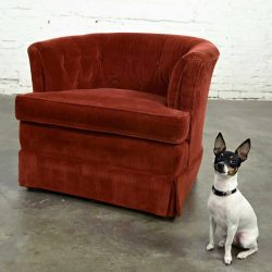 Burnt Orange Wide Wale Brushed Corduroy Tub Barrel Chair by Schuford Furniture for Century Furniture