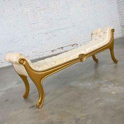 Hollywood Regency Upholstered Gilded Gondola Bench Attributed to Prince Howard