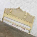 Prince Howard French Provincial Hollywood Regency Antique White & Cane King Headboard