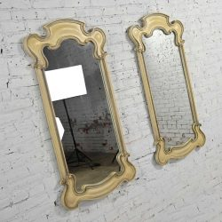 Prince Howard French Provincial Hollywood Regency Antique White Pair Mirrors