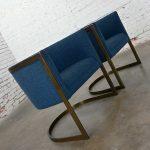 Metropolitan Furniture Modern Blue & Antique Brass Plate Tub Chairs by Jules Heumann a Pair