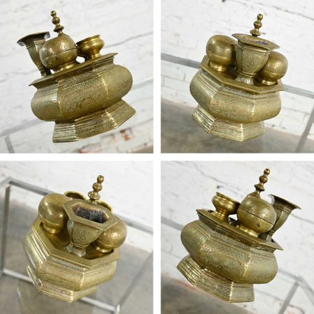 Antique East Java Indonesian Brass Tepak Sireh Betel Nut Set 7 Pieces