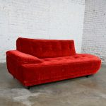 Mid Century Hollywood Regency Art Deco Style Crushed Red Velvet Chaise Lounge 1950's