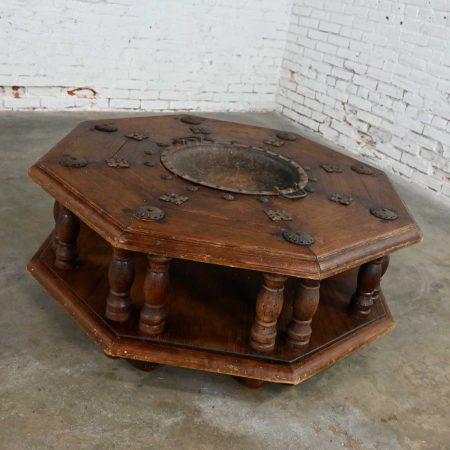 Spanish Colonial Revival Rustic 2-Tiered Octagon Brazier Coffee Table Style Artes De Mexico Internacionales