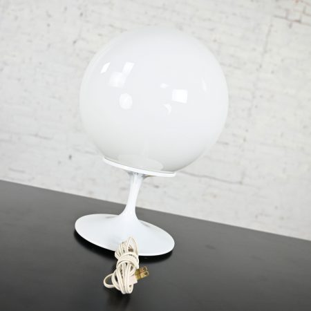 Stemlite Opaque White Glass Ball Shade Table Lamp by Bill Curry for Design Line