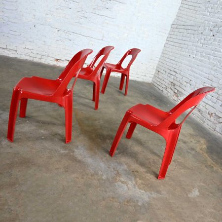 Modern to Post Modern Henry Massonnet Red Plastic Stacking Chairs Set of 4