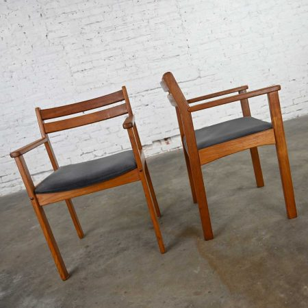 Scandinavian Modern Teak Pair of Armchairs with Brushed Charcoal Fabric Seat Cushions