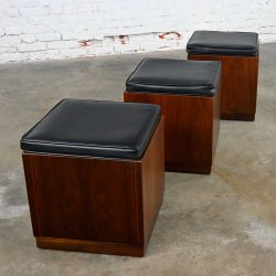 Mid-Century Modern Trio Square Walnut Cube Stools Black Upholstered Tops by Jack Cartwright for Founders Furniture Patterns 7 Line