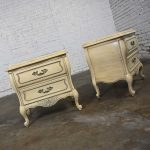 Prince Howard French Provincial Hollywood Regency Antique White Nightstands a Pair Marble Tops