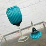 Empoli Italian Cased Glass Lidded Compote Circus Tent Jar in Peacock Blue