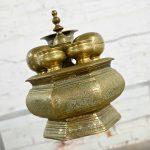 Vintage East Java Indonesian Brass Tepak Sireh Betel Nut Set 7 Pieces