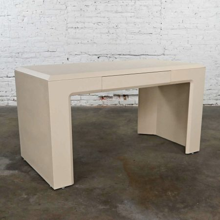 Modern Off White Waterfall Style Writing Desk Faux Shagreen Texture by Lane Alta Vista