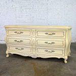 Prince Howard French Provincial Hollywood Regency Antique White Dresser Credenza