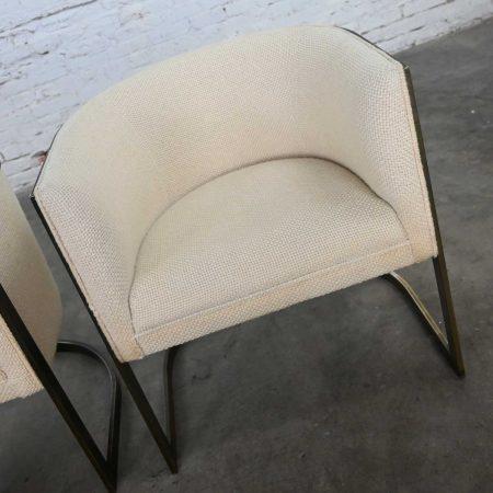 Metropolitan Furniture Modern White & Antique Brass Plate Tub Chairs by Jules Heumann a Pair