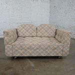 Modern to MCM Oatmeal Blue & Brown Plaid Pattern Convertible Love Seat Sofa Daybed or Chaise
