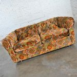 Vintage Modern Orange & Gold Geometrical Patterned Floral Patchwork Modern Tuxedo Style Love Seat by Maddox Furniture for J.C. Penney.