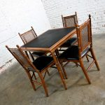 Vintage Campaign Style Faux Bamboo Folding Table & 4 Chairs Faux Leather Top and Seat Cushions