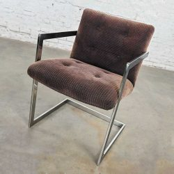 Vintage Modern Chrome & Brown Chenille Cantilever Chair in Style of Brno by Knoll