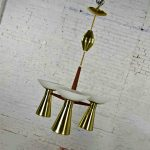 MCM Emerson Pull Down Pendant Light Fixture by Imperialites Walnut Brass Plate & White Glass Bowl Shades
