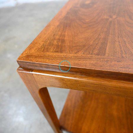 Lane Rhythm Pair of Mid-Century Modern Walnut End Tables with Lower Shelf