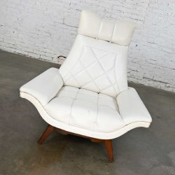 MCM White Faux Leather Walnut Base High Back Lounge Chair Style of Adrian Pearsall or Kroehler