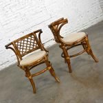 Vintage Rattan & Cane Pair of Side Chairs Woven Diamond Yoke Back Off-White Tweed Fabric