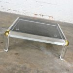 Monumental Lucite & Brass Square Coffee Table with Smoked Glass Top Attributed to Karl Springer