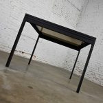 MCM to Modern Black Powder Coated Metal Smoked Glass Square Expanding Table Attributed to DIA