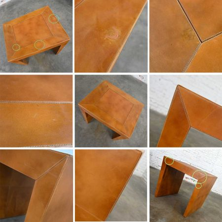 Modern to Post Modern Cognac Leather Game Table with Angled Legs from India