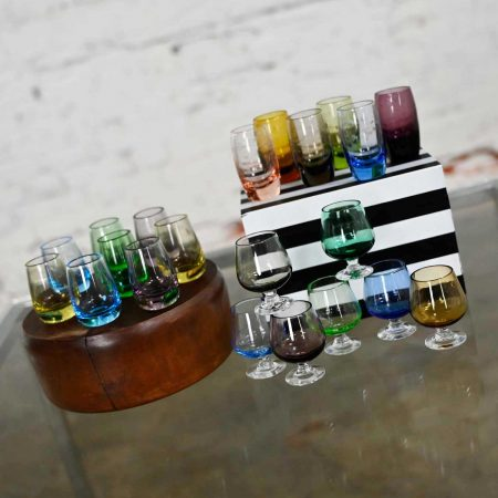 Vintage Set of 21 Blown Glass Multi Color Small Cocktail Snifters Cordials or Shot Glasses 3 Sizes